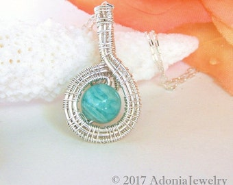 Russian Amazonite Wire Wrapped Pendant ~ Sterling Silver Pendant ~ Blue Stone Pendant ~ Adonia Jewelry