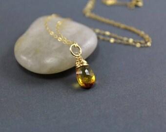 Citrine Necklace - Citrine Pendant - 14K Gold Fill Wire Wrap Pendant - AdoniaJewelry