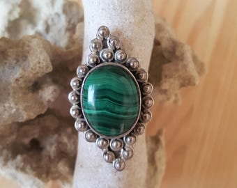 New Listing Sale...Gorgeous Old Emerald Green Malachite Sterling Silver 925 Statement Ring. Malachite Sterling 925 Ring. Israel Eilat Stone