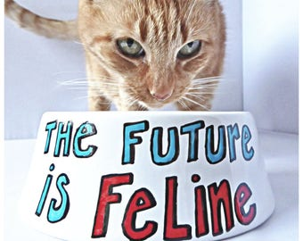 Future Is Feline, Cat Bowl, funny cat lady gift, Food Bowls for Cats, Water Bowl, pet dishes for cats, Cat Dish, Unique Pet Bowl, ceramic