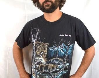 Vintage 1990s Wolf Night Howl Tee shirt Tshirt - Jackson Hole Wyoming