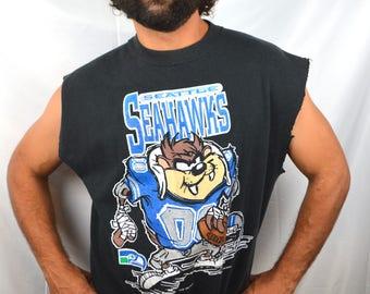 Vintage 1995 Tazmania Taz Devil Looney Toons Seattle Seahawks NFL Football Sweatshirt