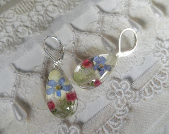Forget-Me-Nots,Heather,Snowball Bush,Veronica Pressed Flower Glass Teardrop Leverback Earrings-Symbolizes Thoughts of Heaven,True Love