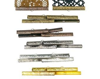 20pcs.  50mm (2 inch) -  Mixed Finish Ribbon Clamp End Crimps - Artisan Series