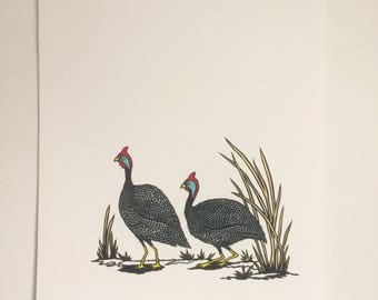 Guineas - Print from original papercut A3