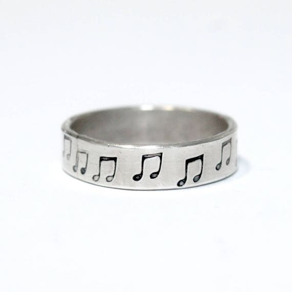 Music Note Pattern Ring, Sterling Silver, Custom Sized, Band Kid, Eighth Notes, Music Lover