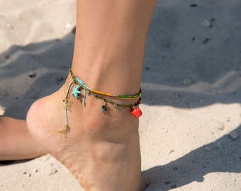 Beach Anklet   Beaded Ankle Bracelet   Mix and Match Anklets   Anklets for Summer   Boho Anklet   Starfish Anklet    Beach Jewelry