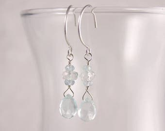 Aquamarine Earrings, Pear Briolette Drops, Dangle, Stacked, Sterling Silver