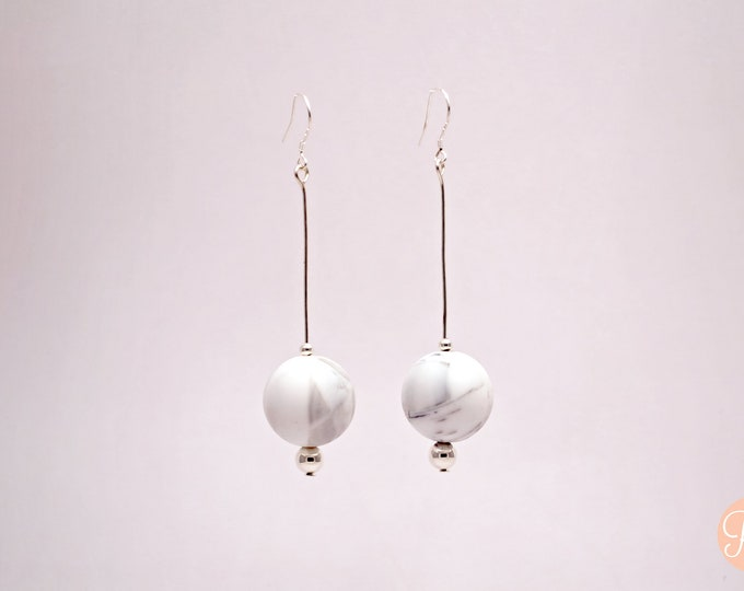 White Marble Big Drop Earrings.