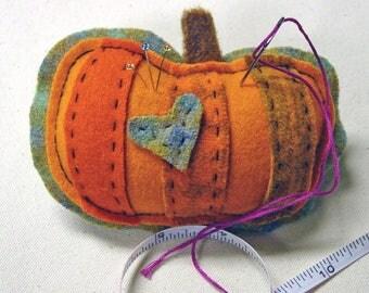 Pumpkin Pincushion or Ornament Decor - Hand Dyed Wools - Hand Stitched - Felt Art - Seasonal Autumn fall Harvest Garden - Orange Green Brown
