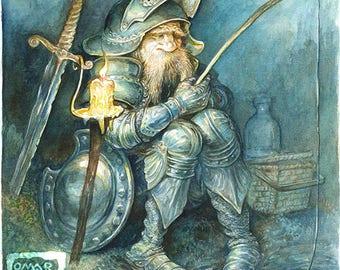 Night Fishing - original art, knight, armor, nighttime, gifts for men, fisherman, painting, watercolor