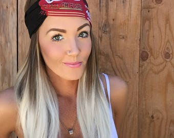 San Francisco 49ers Turban Headband || Football California Hair Band Accessory Cotton Workout Yoga Fashion Red Black Gold White Scarf Girl