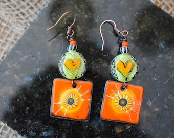 Heart Earrings, Sunburst Earrings, Bright Earrings, Artisan Enamel Earrings, Orange Earrings, Sweet Earrings, Valentine's Day Earrings