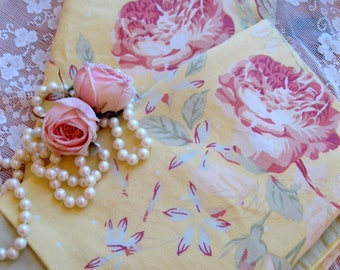 Pillow Shams, Pillow Cases with Roses, Set of Two, Roses, Shabby Roses, Cottage Charm, Shabby French, Linen, by mailordervintage on etsy