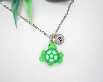 Turtle necklace, Initial necklace, personalized necklace, turtle jewelry, cute unique gift, animal gift, turtle gift, animal polymer clay