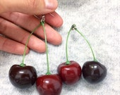 Adorable Red & Black Cherry Earrings on Green Stem // Adorable Quirky Gift for Her // Birthday Holiday Party // Statement Piece // Fashion