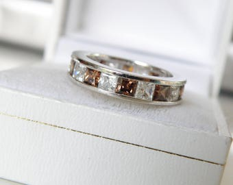 Estate Sterling Silver 925 Chocolate Clear Diamond Like Diamonique DQ Channel Set Eternity Wedding Band Ring Size 5