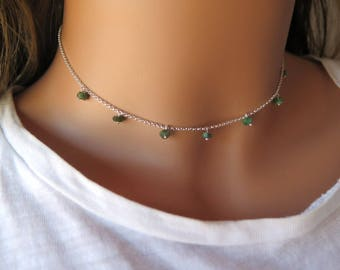 Emerald necklace may birthstone, Tiny sterling silver choker, May gemstone, Genuine raw emerald, Taurus jewelry, Zodiac jewelry gift