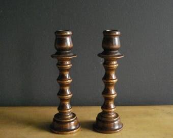 Favorite Candlesticks - Set of Two Vintage Turned Wooden Candlesticks