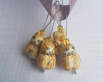 Orange Tabby Cats - Four Snagless Stitch Markers - Fits Up To 8 mm (11 US)