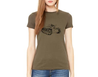 Military Tank Tshirt, PZ2 Tank, Ladies Cotton Crewneck Tshirt, Short Sleeve, Army Green, Army Shirt, War History, Tank lover, Hand Printed