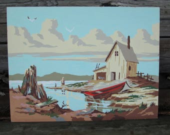Vintage Paint by Number Boat House Craftint Mid Century 1956 PBN Unframed Painting 1950s