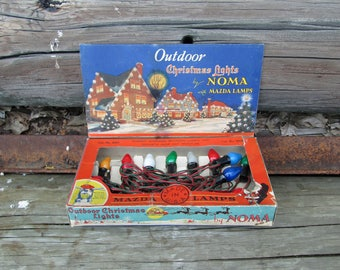 Vintage Christmas Lights Bakelite by NOMA String of 15 Outdoor Lighting with Mazda Lamps in Display Box Mid Century