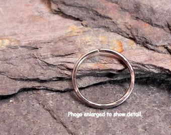 Hammered Titanium Helix Ring, Titanium Cartilage Hoop, Mens Hoop, Tragus, Daith, Nose Ring, (1) ONE SINGLE Hoop, 8mm, 9mm, 10mm, 11mm, 12mm