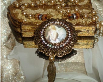 Golden hair Guardian angel bead embroidery cabochon pendant  necklace // Pamelia Designs