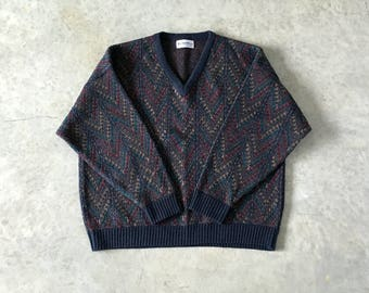 cozy vintage mens chevron v neck sweater - 1211229