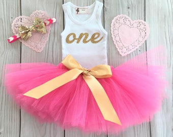 Birthday Outfit | Pink Gold Birthday Outfits | 1st Birthday Outfit | First Birthday Outfit | Cake Smash Outfits | Tutu Dress | Birthday Tutu