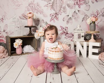 Birthday Outfit | Pink 1st Birthday Tutu | First Birthday Tutus | Baby Girls Birthday Outfit | Pink and Gray