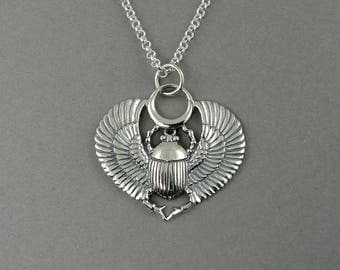 Egyptian Jewelry, Scarab Necklace - Sterling Silver Scarab Beetle Pendant Jewelry, Teacher Gifts, Trendy Necklaces, Birthday Gift,