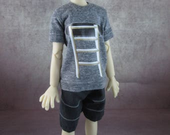 Ladder T-shirt and board shorts for Maurice by Kaye Wiggs MSD BJD Boys
