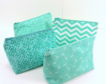 ONE Zippered Pouch / Aqua Mandala Make Up Bag / Zippered Travel Case / Small Travel Pouch / 6 Inch Zippered Bag