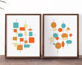 Etonnant 1960s Decor, Mid Century Modern Prints, Orange And Turquoise Blue Art, Set  Of