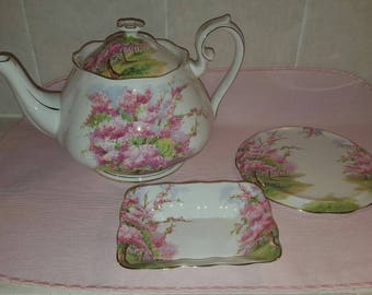Mid Century Royal Albert Blossom Time Large Tea Pot Teapot, Trivet & Sweet Meat Dish