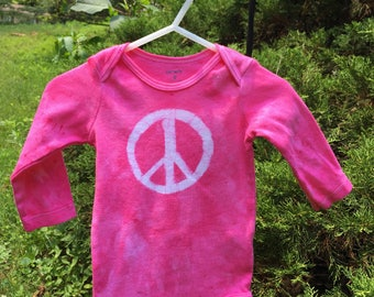 Peace Sign Bodysuit, Pink Peace Sign Baby Bodysuit, Peace Baby Gift, Pink Baby Gift, Baby Girl Gift, Hippie Baby (9 months)