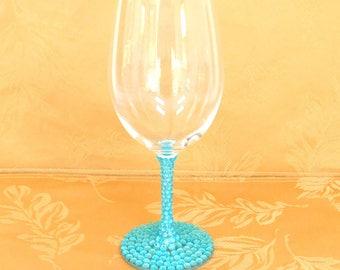 Turquoise Blue, Light Blue Rhinestone Decorated Wine Glasses, Toasting, Wedding, Shower, Bridesmaid Glasses, Choose Any Quantity