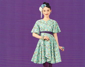 Japanese Retro Style One Piece Dress Clothes, Japanese Sewing Pattern Book for Women Garment Clothing, Easy Sewing Tutorial, Blouse, B1850