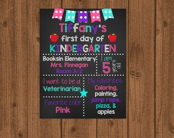 First Day of School Sign,1st Day Kindergarten,Kindergarten Sign,Chalkboard School Sign,School Photo Prop,Back to School,Printable Sign