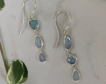 Mismatched and Asymmetrical Light Blue Boulder Opal Earrings in Sterling Silver