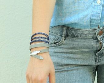 Leather Bracelet Wrap, Leather Bracelets for Women, Braided Leather Wrap Bracelet, Leather Silver Bracelet, Braided Leather Bracelet Woman