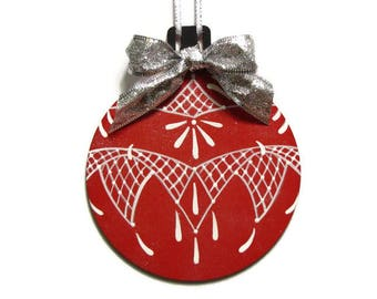 Round Red Ornament, Handpainted Wood, Hand Painted Glittered Christmas Ornament, Tole Decorative Painting