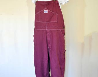 Wine Mens Medium Bib OVERALL Pants - Red Wine Dyed NEW Rugged Blue Cotton Denim Overalls - Adult Mens womens Medium (38 w x 32 L)