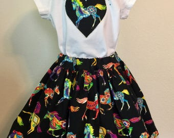 Southwestern horses  twirly skirt & shirt set, perfect for photos, parties, and