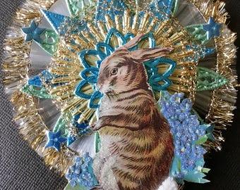 Vintage Look Victorian Easter Ornament-Vintage Postcard Bunny, German Dresdens, Spun Glass,German Tinsel,Crinkle Wire