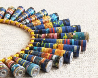 Sunday Comics necklace • Boho necklace • Cool gift for friend • Funky necklace • Yellow and blue necklace • Upcycled jewelry • Fun necklace