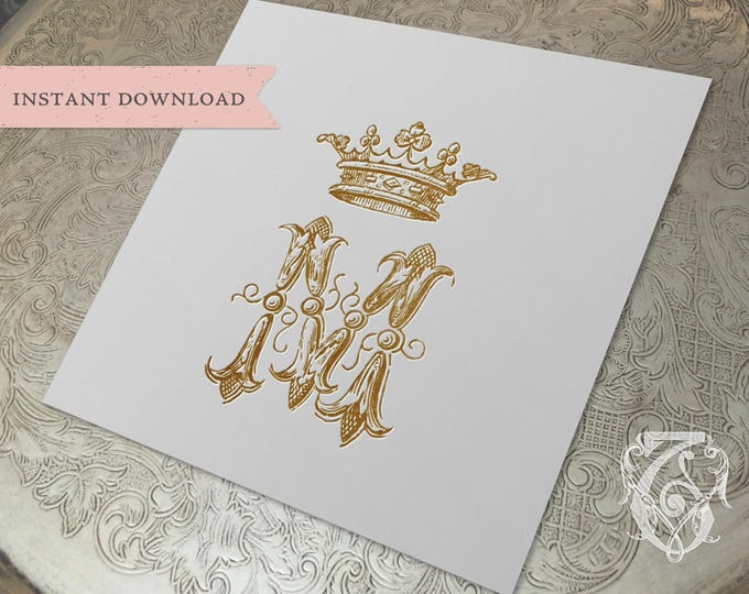 Vintage Wedding CROWN Crest Initial M Digital Download