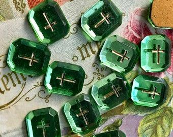4 Cross cabochons, Western German Vintage Cabochons, Glass cabochons, Gold Cross, Religious cabochons, Christian cabochons, Peridot NOS #989